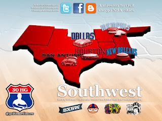 southwest division, nba map, sxsw, texas, western conference