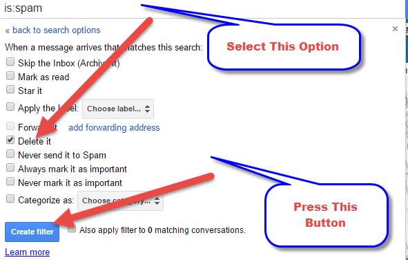 How To Delete Automatically Spam Email In Your Gmail Account