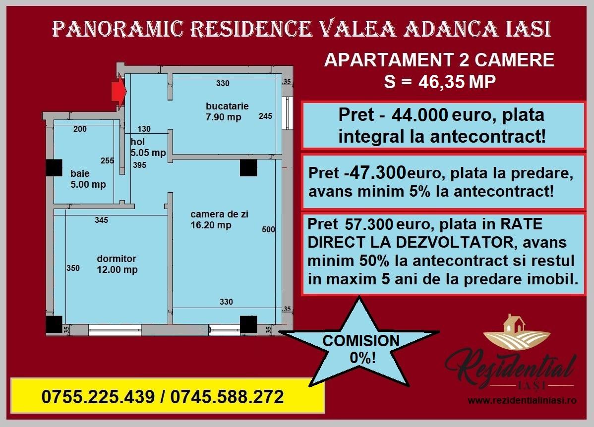 Apartament 2 camere - 46,35 mp