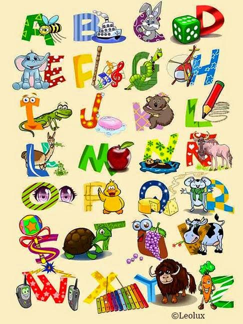 abecedario infantil, dibujos, niños