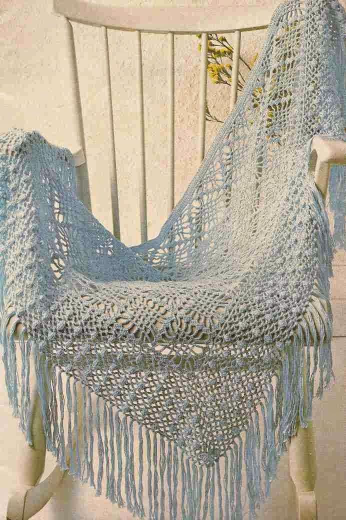 #75 Chal o Poncho de Algodón a Crochet
