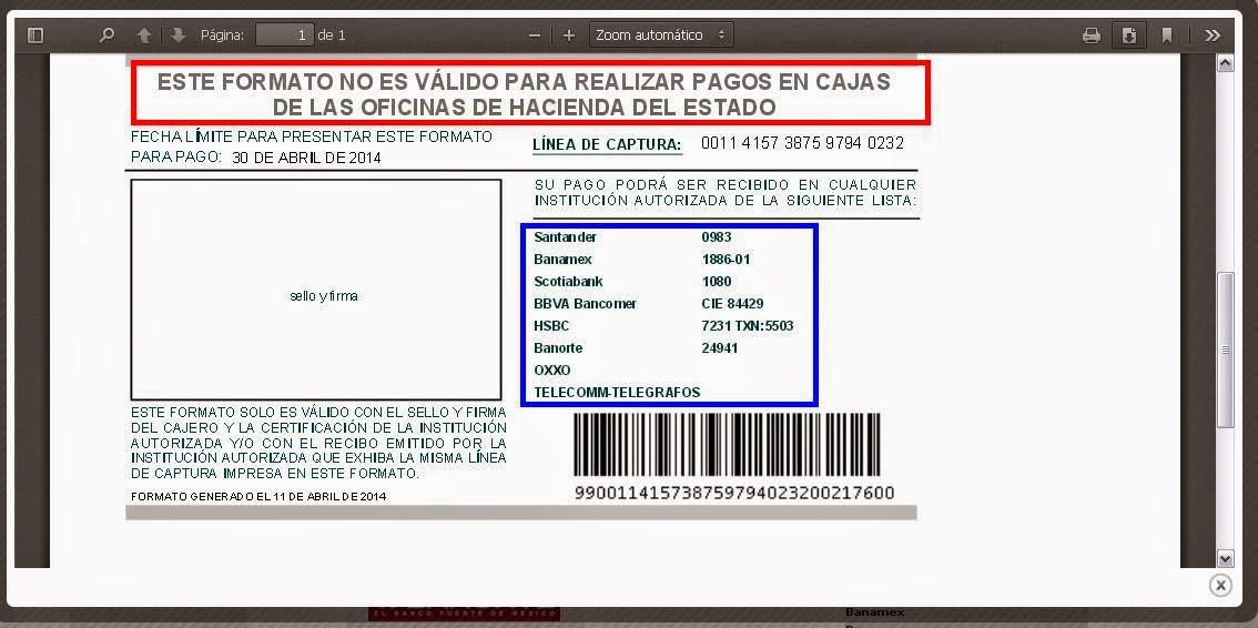 Formato De Pago De Tenencia Estado De Veracruz