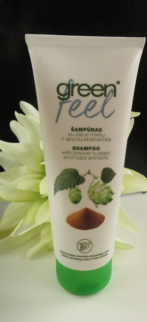Green feel Šampūnas su alaus mielių ir apynių ekstraktais