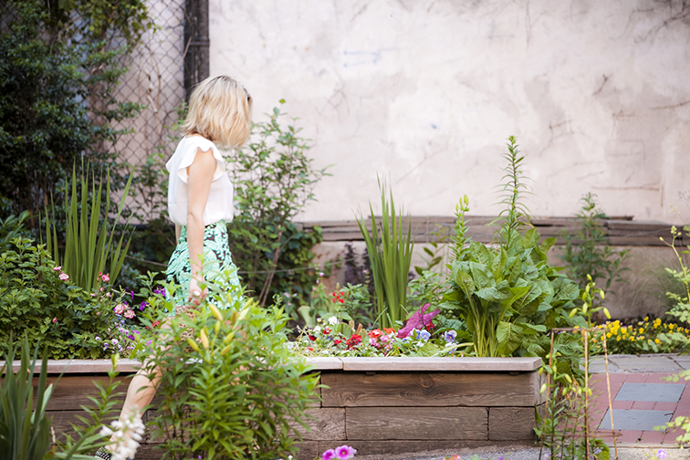 Messy blond bob, west side community garden, floral greenery camo, fresh summer style