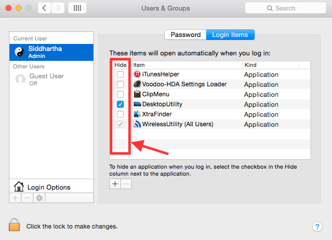 How to hide application at start up in Mac OS X