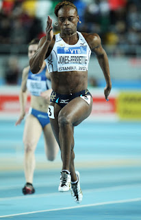 LaVerne Jones-Ferrette of the US Virgin Islands competes in the Women's 60 Metres first round during day two of the 14th IAAF World Indoor Championships at the Atakoy Athletics Arena on March 10, 2012 in Istanbul, Turkey. (March 9, 2012 - Source: Michael Steele/Getty Images Europe)