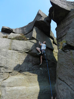 A new route tucked away on the Cleft Block at Stanage End.