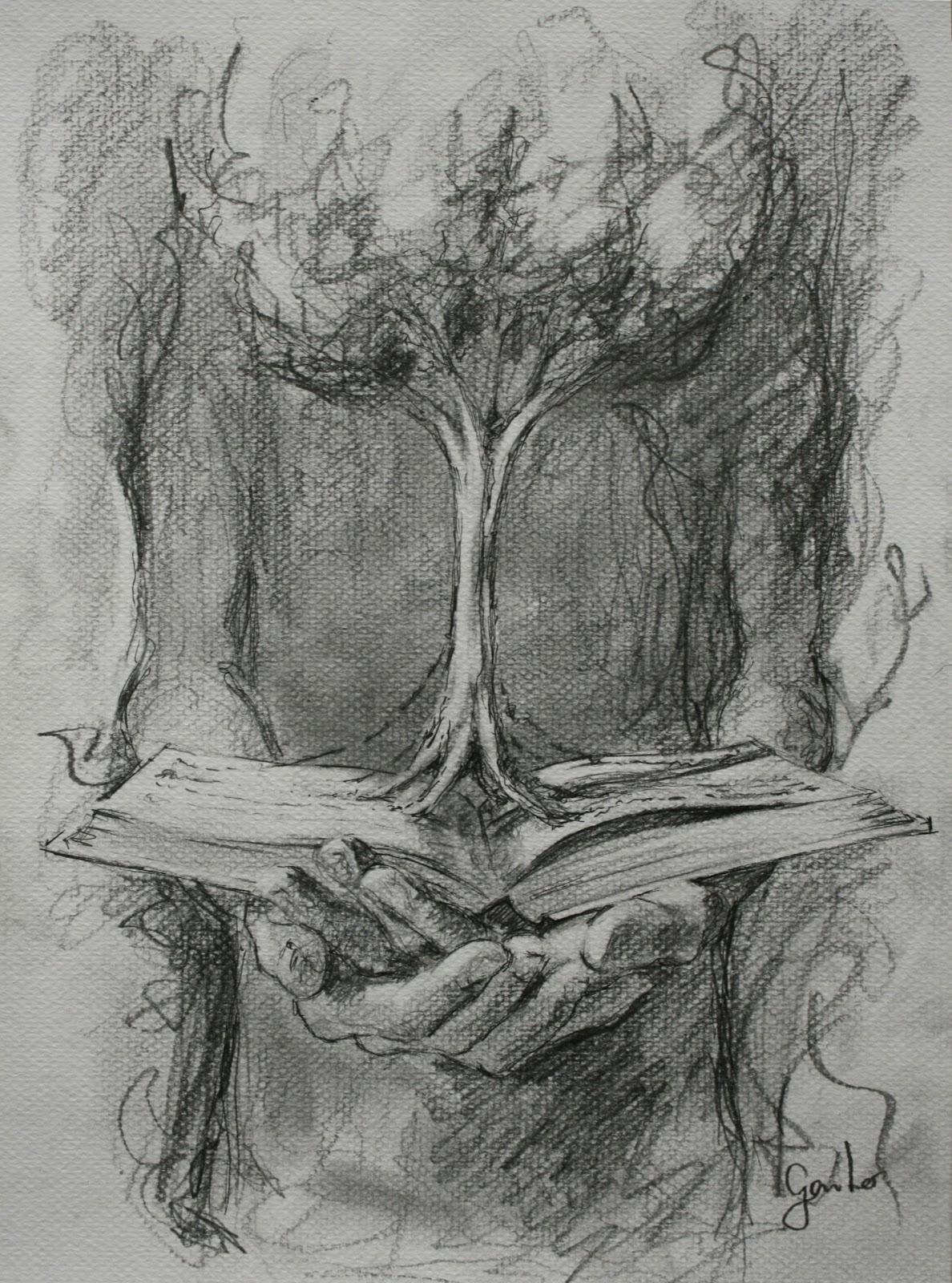 Worksheet. Gaito Libro rbol y manos Dibujo a lpiz