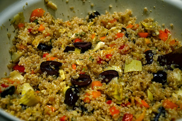 Quinoa Salad with Artichokes, Kalamata Olives, Lemon, Garlic and Peppers