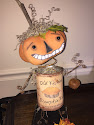 Handmade Folk Art Bobble Head Pumpkin Can Man