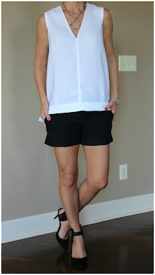 Summer outfit inspiration, look for less, black and white look, v-neck tank