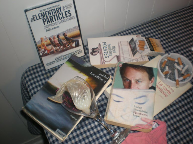Michel Houellebecq, Elementary Particles, condom, wine glass, pack of cigarettes, Plateforme, ashtray