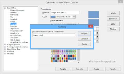 Darle un nombre al nuevo color en LibreOffice