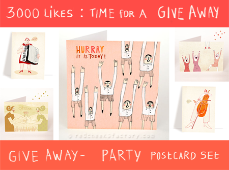 Give away party postcard set Red Cheeks Factory