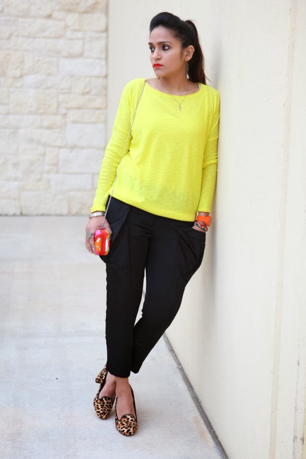 Vince Top, BCBG Pants, Cole Haan Pumps, Crazy & Co. Clutch, Tanvii.com