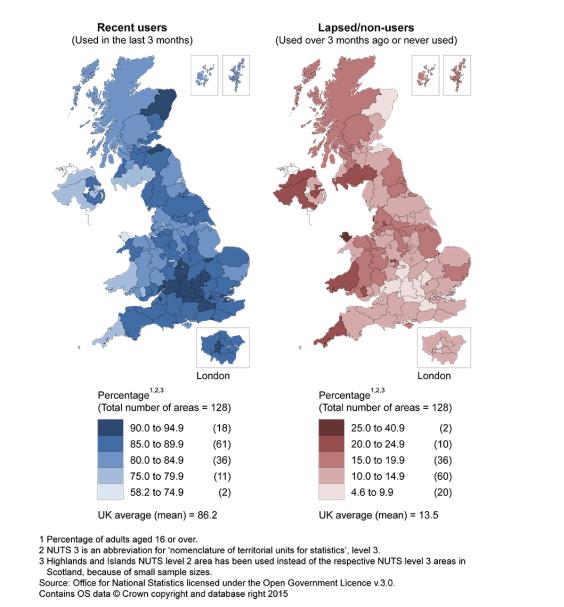 """regional distribution of internet usage across United Kingdom"""