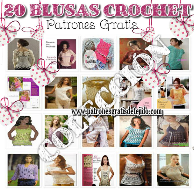 Colección de patrones de blusas para tejer con ganchillo