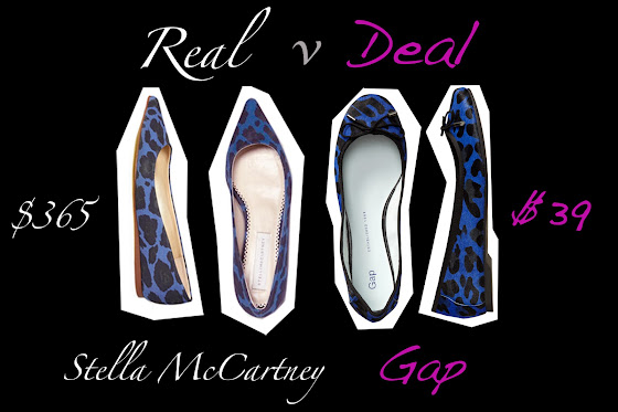 Real vs Deal Stella McCartney versus Gap blue leopard print ballet flats.