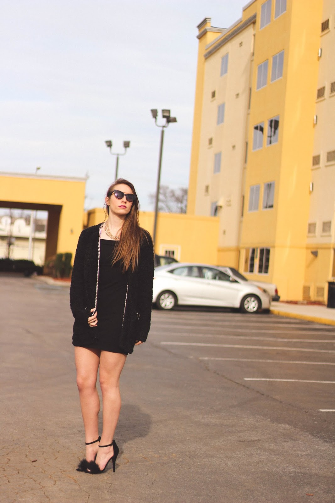Retro Black and Gold Outfit, Black Off the Shoulder Dress, Lana del Rey Style, Californication, Fashion Blogger