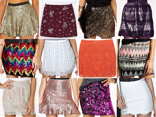 Sequin skirts from Missguided, Zara, Dahlia, Boohoo, Nasty Gal and Miss Selfridge