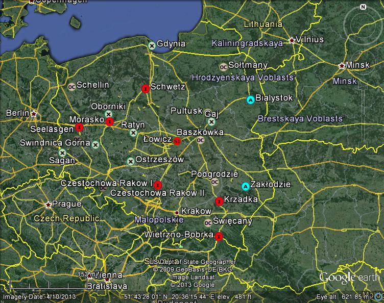 Czestochowa Poland Map.Meteorite Maps And Impact Craters Worldwide Poland Meteorites Map