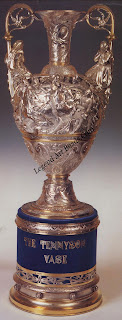 "The ""Tennyson"" Vase, a celebrated example of Hancock's sculptural silverwork. Designed and modeled by H.H. Armstead. it represents motifs from Tennyson's Morte d'Arthur and was exhibited in Paris in 1867."