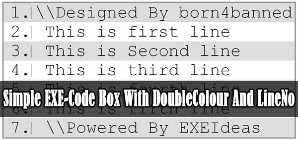 Simple EXE-Code Box With Double Colour And Line No For Blog And Site