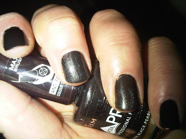 Two coats of Rimmel Black Pearl
