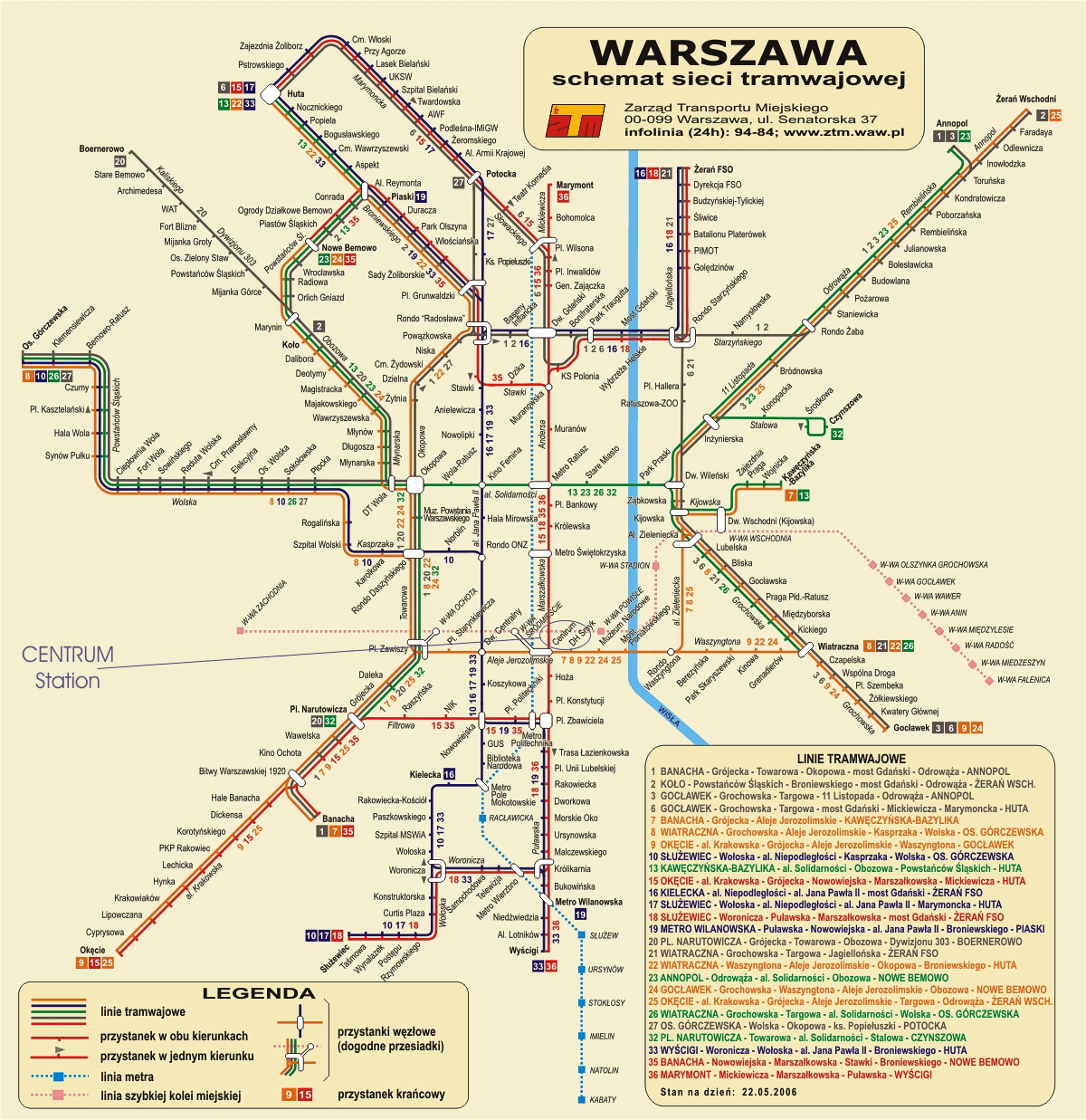 Map of cities: Map of Warsaw, Poland