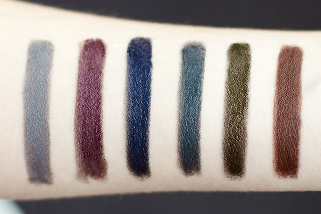 Portland Black Lipstick Company Swatches Pewter Cauldron, Artifical Amythest, Indigo Bridge, Blue Lagoon, Metallurgy Coffee, Black.