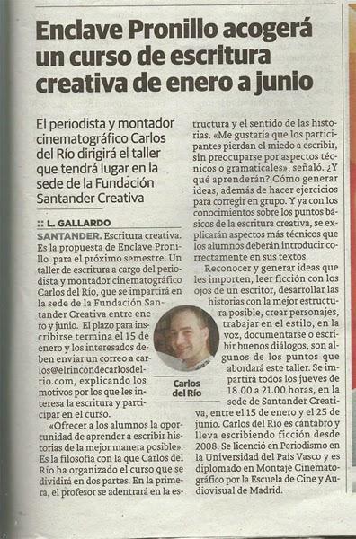 Noticia de El Diario Montañés de Nochebuena de 2014