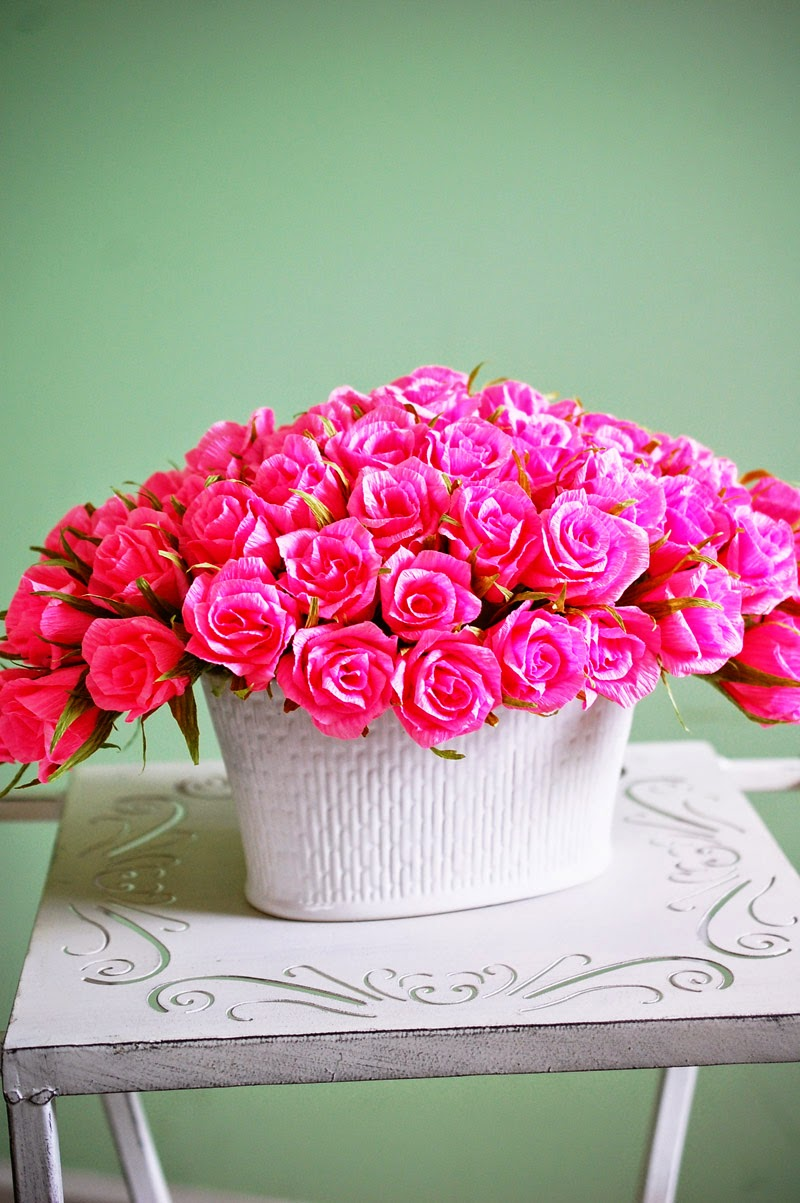 65 Paper Roses Arrangement In Pink Handmade Paper Flowers By Maria