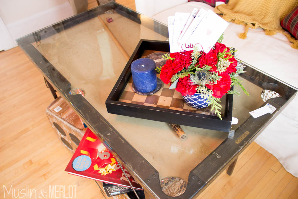 Glass over mini pool table = coffee table!
