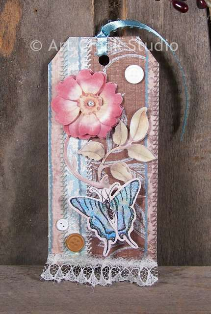Butterfly Stitches Altered Art Tag