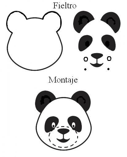 Patrones de fieltro. Oso panda de fieltro. Broches de fieltro de oso ...