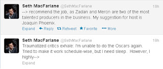 Seth MacFarlane won't return as Oscars host,Oscars,tweet