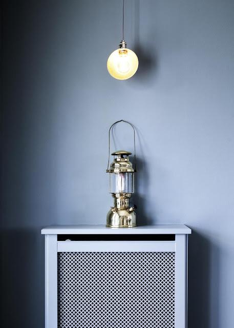 lantern in a blue kitchen