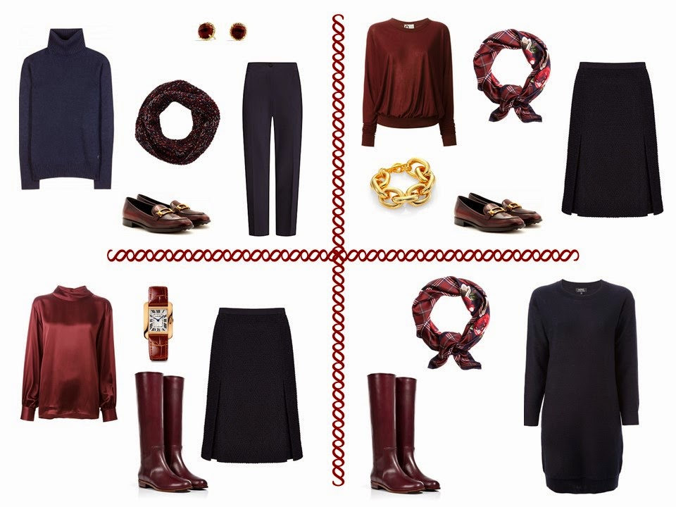 four navy and burgundy outfits from a Four Pack travel capsule wardrobe
