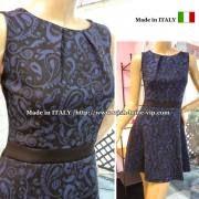 イタリアフレアワンピース/ネイビー&ブラック