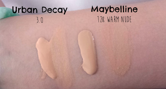 Urban Decay Naked Skin Foundation shade 3.0 review swatches, Maybelline Fit Me Matte + Poreless Foundation 128 warm nude review swatches