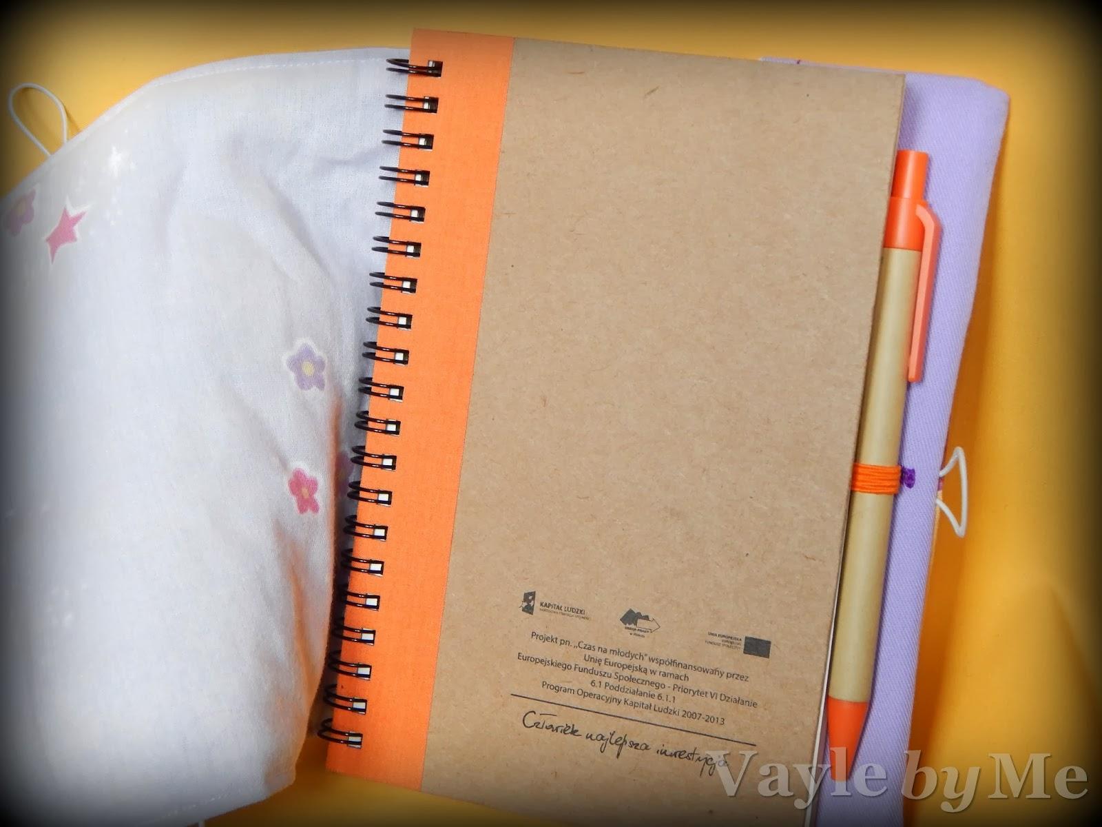 Szyta okładka na notes handmade, diy