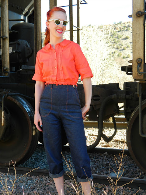 1950s cropped top, side zip pedal pushers, cat eye sunglasses,  Just Peachy, Darling