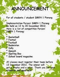 Announcement (pengumuman) Bahasa Inggris Sekolah