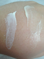 Notice the difference in these? The lotion stays heavy on the skin, the facial melts into the skin immediately