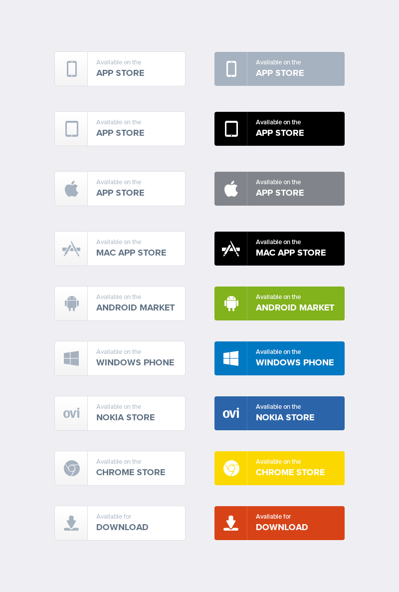 Free App Download Buttons PSD