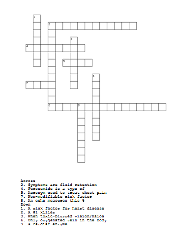 Check out this crossword puzzle with fun Cardiac Facts
