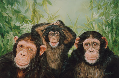 Chimpanzees - Oil on Canvas  by Laura Curtin