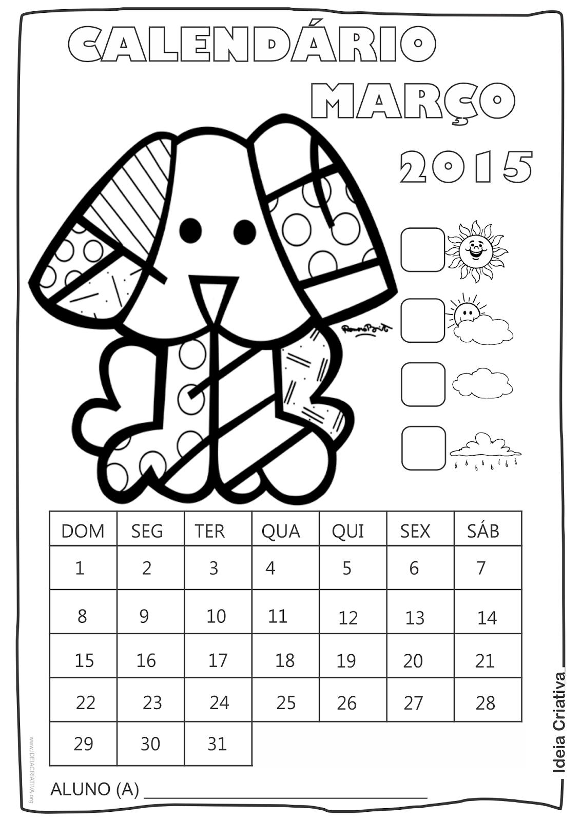 Calendário Abril 2015 com Desenho Cãozinho de Romero Britto para Colorir
