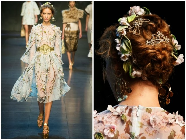 Dolce & Gabbana Spring 2014 Almond Blossoms Chiffon Dress