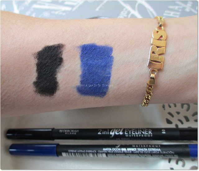 Deborah Milano - Lápices de Ojos 2 in 1 gel Eyeliner Waterproof - Swatches